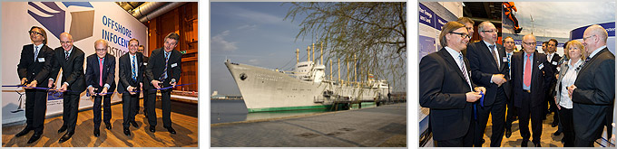 Erste Dauerausstellung in Deutschland zum Thema Offshore-Windenergie auf dem Traditionsschiff Offshore Infocenter Rostock wurde am 24. April 2013 offiziell eröffnet.